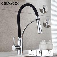 OKAROS вытащить кухня кран черный хромированная отделка двойной распылитель сопла холодной и горячей воды смеситель ванная комната Torneira Cozinha