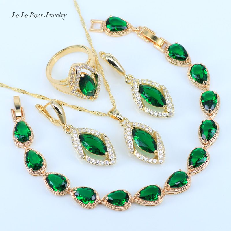 L&B Best Anniversary Present Gold Color Green Created Emerald White Zircon Bracelet Wedding Jewelry Set For Women