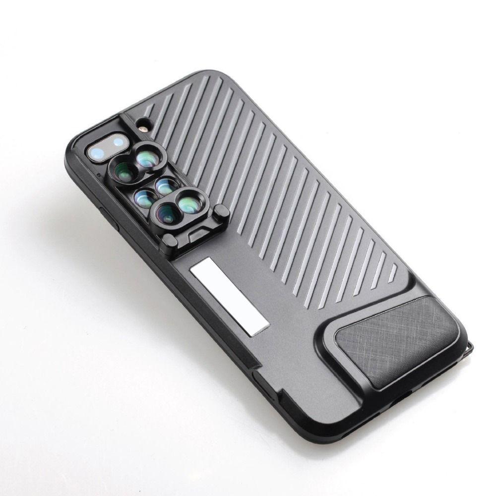 Mode Portable Caméra Améliorer Lens Case pour iPhone 7 8 Plus 6 en 1 Grand Angle Fisheyes Téléobjectif Macro Lentille Mobile Téléphone cas