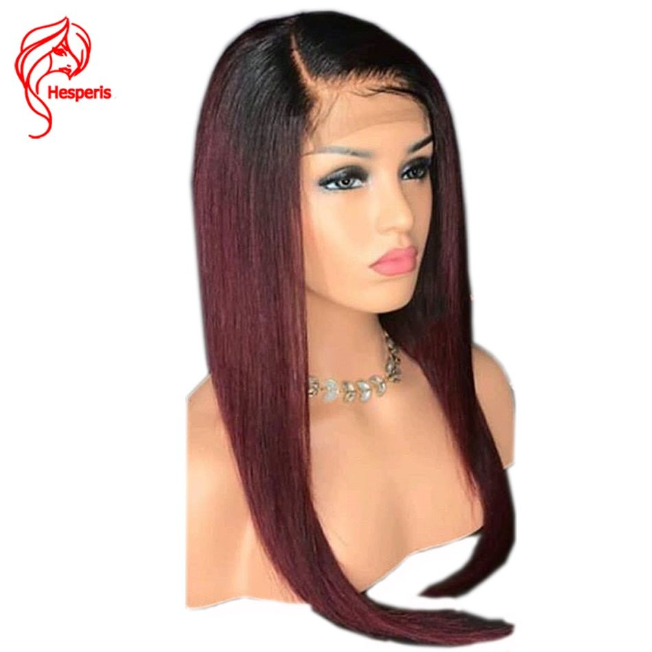 Hesperis Full Lace Human Hair Wigs Brazilian Remy Hair Ombre Full Lace Wigs Pre-plucked WithBaby Hair 1B/99 J Burgundy Ombre Wig