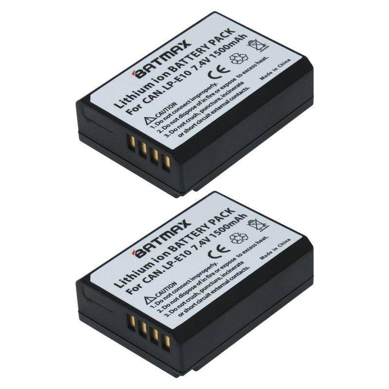 2 Pcs LP-E10 LP E10 LPE10 Batteries pour Appareil Photo Canon EOS 1100D 1200D 1300D Baiser X50 X70 X80 Rebel T3 T5 T6