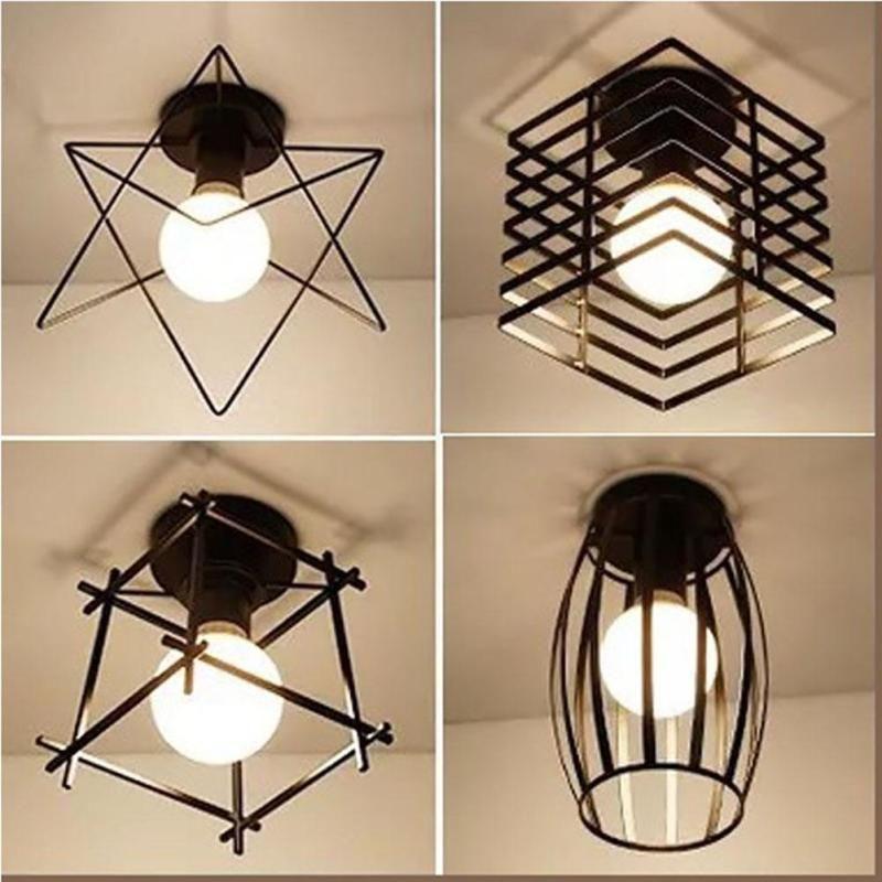 Vintage Ceiling Lights Led Ceiling Lamp Loft Iron Cage Fixtures Abajur Home Black Lighting For Living Room Bedroom Z20