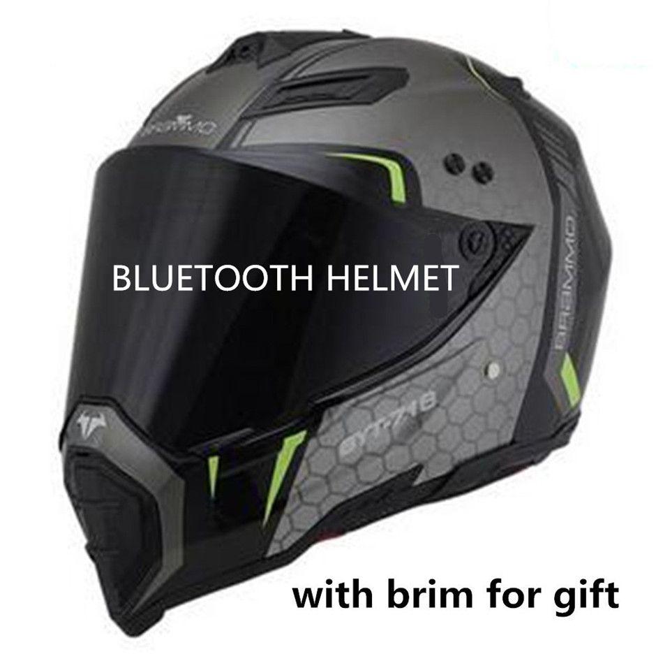 bluetooth helmet motorcycle 2018 DOT BT speakers motocross listen to music link apple or android road cross helmet