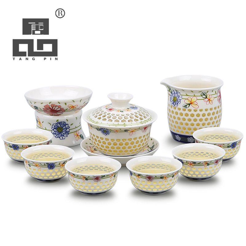 Théière en céramique bleu et blanc TANGPIN tasse à thé gaiwan pour thé kung fu chinois puer
