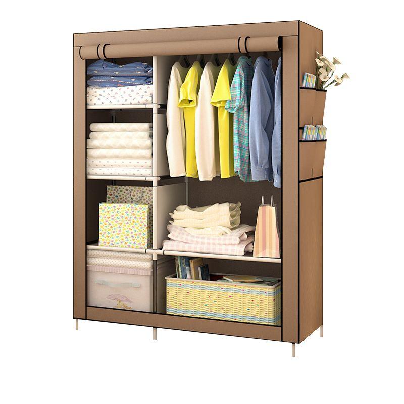 Chambre polyvalente vêtement en tissu non tissé armoire pliante Portable vêtements armoire de rangement anti-poussière tissu placard meubles de maison