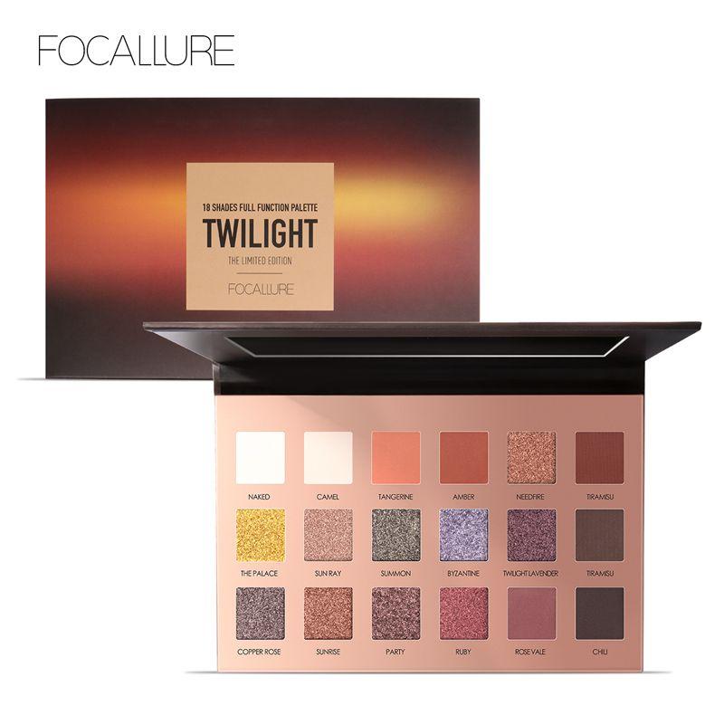 FOCALLURE 18 Pcs Hoch Pigmentierte Glitter Lidschatten Flash Schimmer Lidschatten mit Matte Farben Einfach zu Tragen Auge Täglichen Make-Up