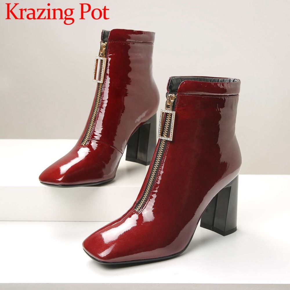 Large size classic chelsea boots crystals front zipper thick high heels retro beauty female cow patent leather ankle boots L7f3