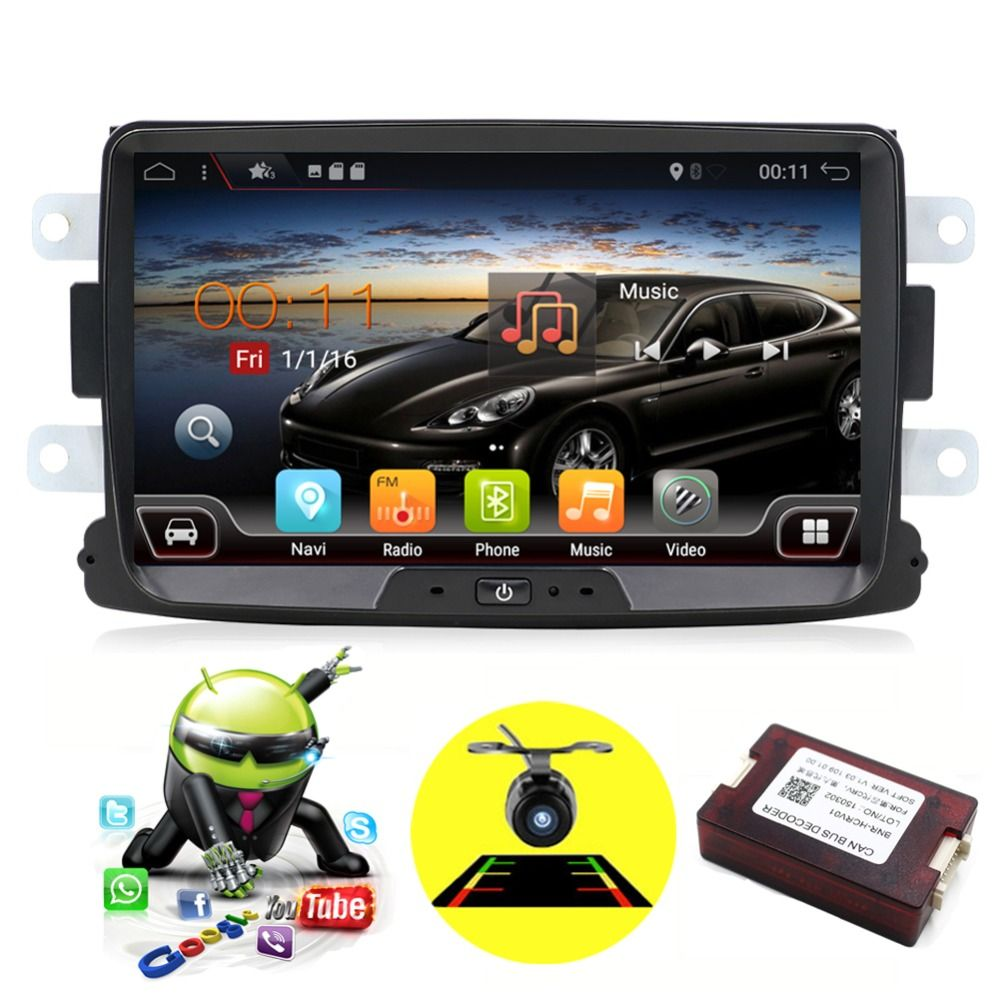 Quad Core Android 7.1 2 din car radio cassette player For Renault Duster with GPS,WIFI,Map,Canbus Support Steering Wheel Control
