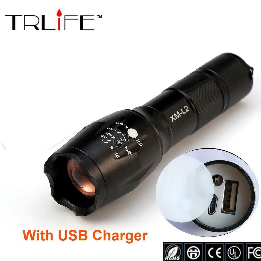 USB 8000 <font><b>Lumens</b></font> 3-Mode CREE XM-L L2 LED Flashlight Lighting Zoomable Torch Rechargeable Li-Po Battery USB Flashlight Charger