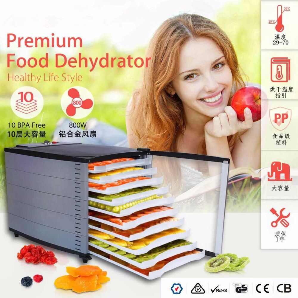 Fruit Dehydrator 10 Tray Vegetable Herb Meat Drying Machine Snacks Food Dryer