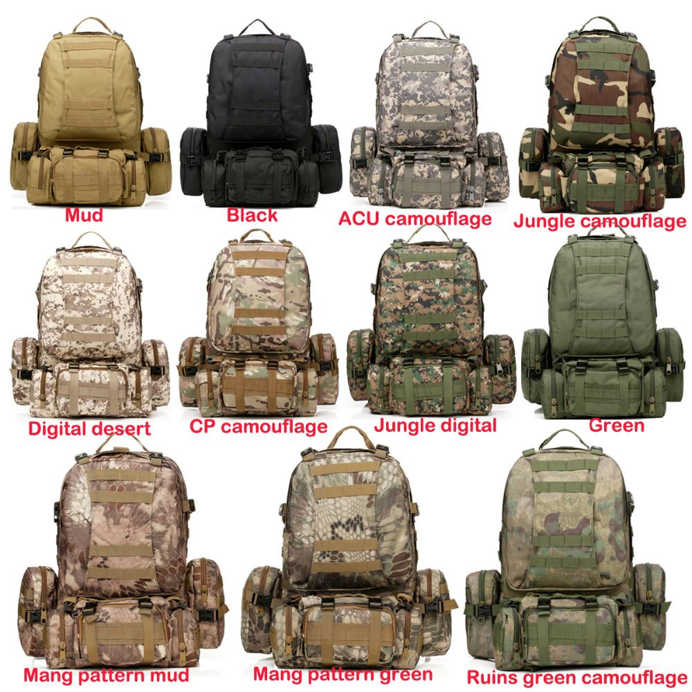 50L Molle Tactical Backpack Waterproof 600D Assault Outdoor Travel Hiking Sport Military Rucksacks Backpacks Hunting Army Bag