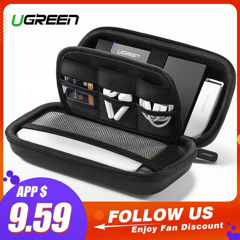 Ugreen housse de batterie portative étui rigide boîte pour 2.5 disque dur disque USB câble stockage externe portant boîtier SSD HDD