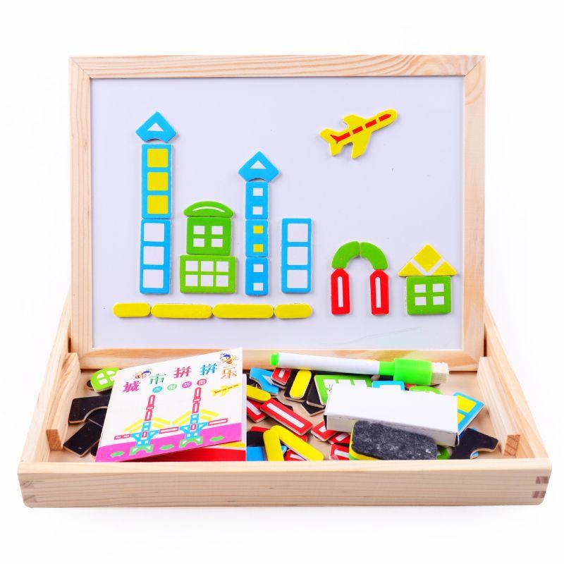 En bois toyMultifunctional Ferme Pédagogique Jungle Animal En Bois Magnétique Puzzle Enfants Enfants Puzzle de Bébé Planche à Dessin