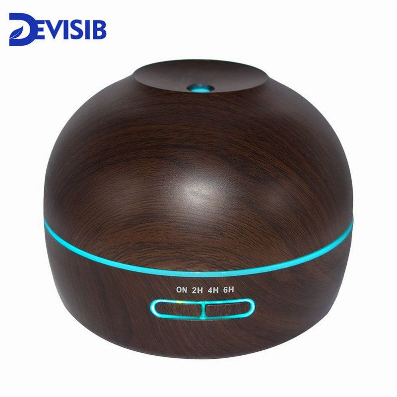DEVISIB 300ml Aroma Essential Oil Diffuser Wood Grain Ultrasonic Cool Mist Humidifier 7 Color LED Light for Office Home Bedroom