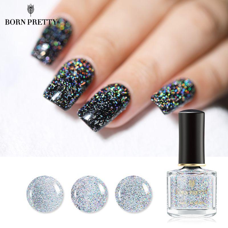 GEBOREN ZIEMLICH Holographische Pailletten Nagellack Galaxy Glitter Top Mantel Holo Glänzende Lack Schwarz Datura Serie Nagellack