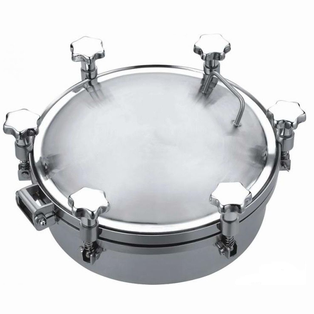 Food grade stainless steel round pressure manhole cover 300mm for fermentation tank with stainless steel handle wheel