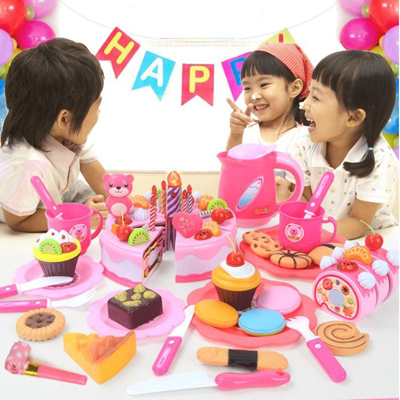 2017 Hot Sale Sweet Children Kitchen Toys 80Pcs/Set Plastic Cutting Birthday Cake Pretend Play Food Toys For Children