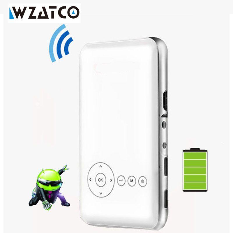 WZATCO M6 Android 7.1 Mini DLP Projektor full hd 1080 p AC3 mit Batterie Miracast WIFI Tasche Hause Projektor Proyector Beamer