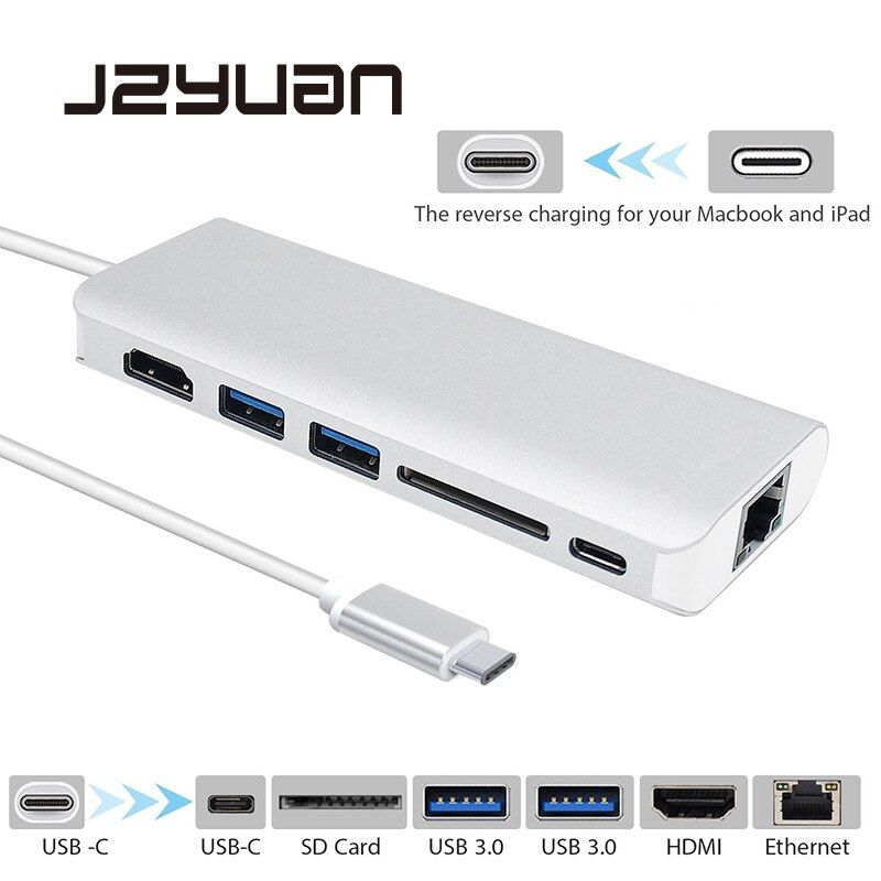 JZYuan USB Type C 3.1 HUB Multiport Type C PD Charging RJ45 Gigabit Ethernet USB 3.0 HDMI 4K Card Reader HUB Adapter for MacBook