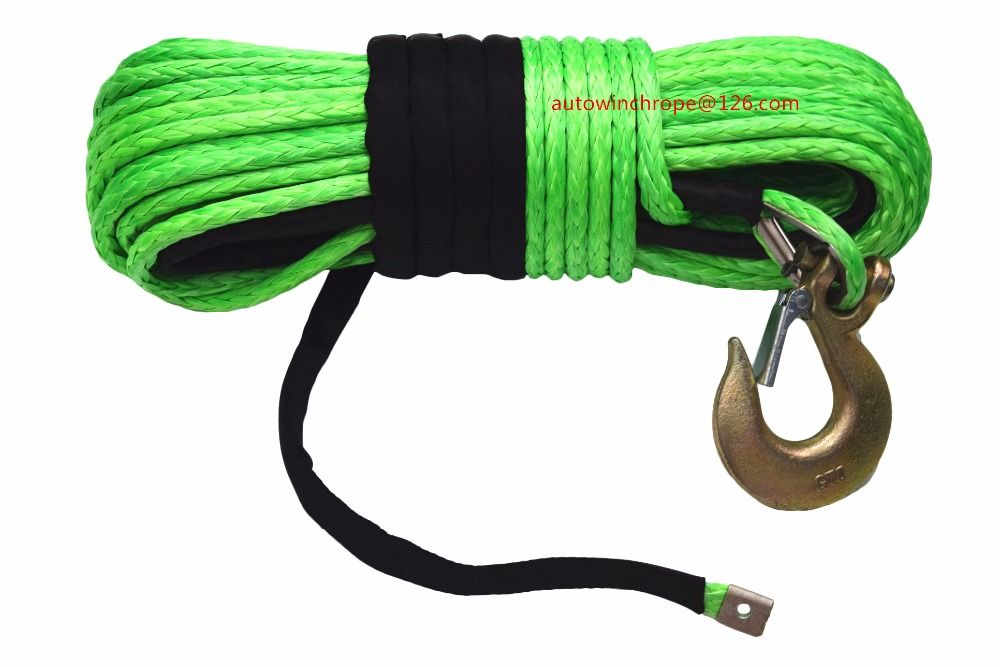 Green 12mm*45m Synthetic Winch Rope,Tow Rope Car,Recovery Replacement Winch Rope for Electric Winches