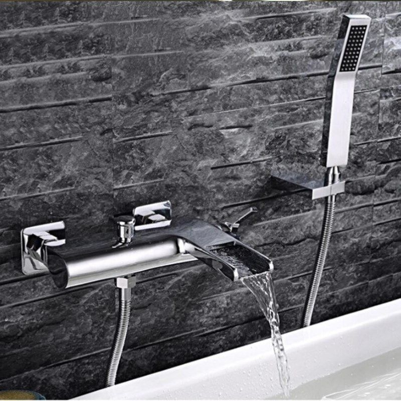 Badewanne Wasserhahn Messing 2-Funktion Outlet Wand Montiert Bad Dusche Armaturen Mischbatterie Verchromt Wasserfall Dusche Wasserhahn
