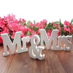 Décorations de mariage 3 pcs/ensemble Mr & Mme romantique mariage décor de Fête D'anniversaire Décorations Pur Blanc lettres signe de mariage