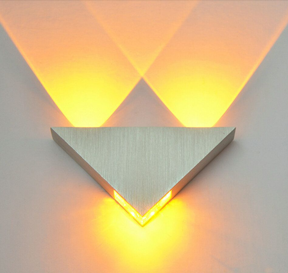Modern Led Wall Lamp 3W Aluminum Body <font><b>Triangle</b></font> Wall Light For Bedroom Home Lighting Luminaire Bathroom Light Fixture Wall Sconce