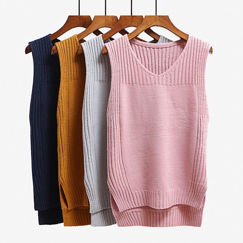 Sleeveless knitted waistcoat vest Women split v neck irregular sweater vest Femme 2017 autumn winter outwear sweater vests