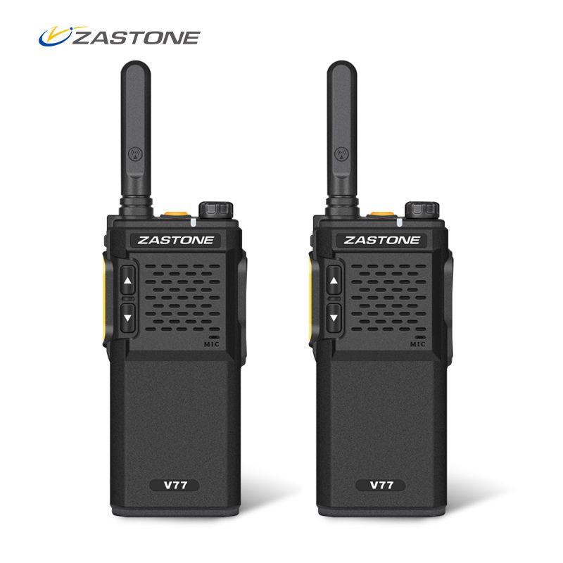 2pcs Zastone V77 Portable Walkie Talkie UHF 400-470MHz 16CH Mini Walkie Talkies Amateur Ham Radio Communicator HF Transceiver