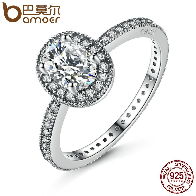 BAMOER 100% 925 Sterling Silver Vintage Elegance & Clear CZ Engagement Ring for Women Wedding Sterling Silver Jewelry PA7608