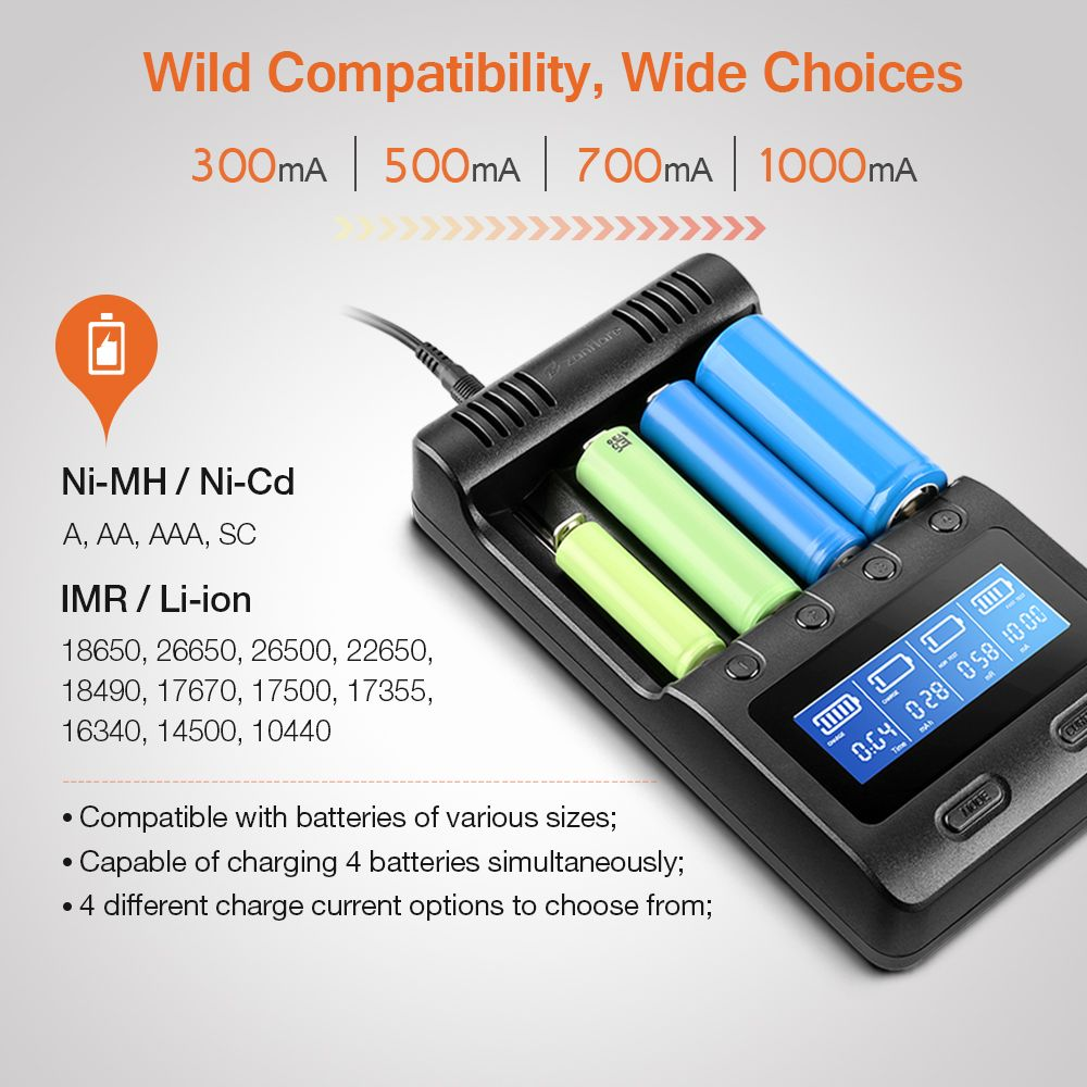Zanflare C4 Multifunctional Battery Charger US/EU Plug With 4 Slots Adjustable Charging Portable Car Charger LCD Display Charger