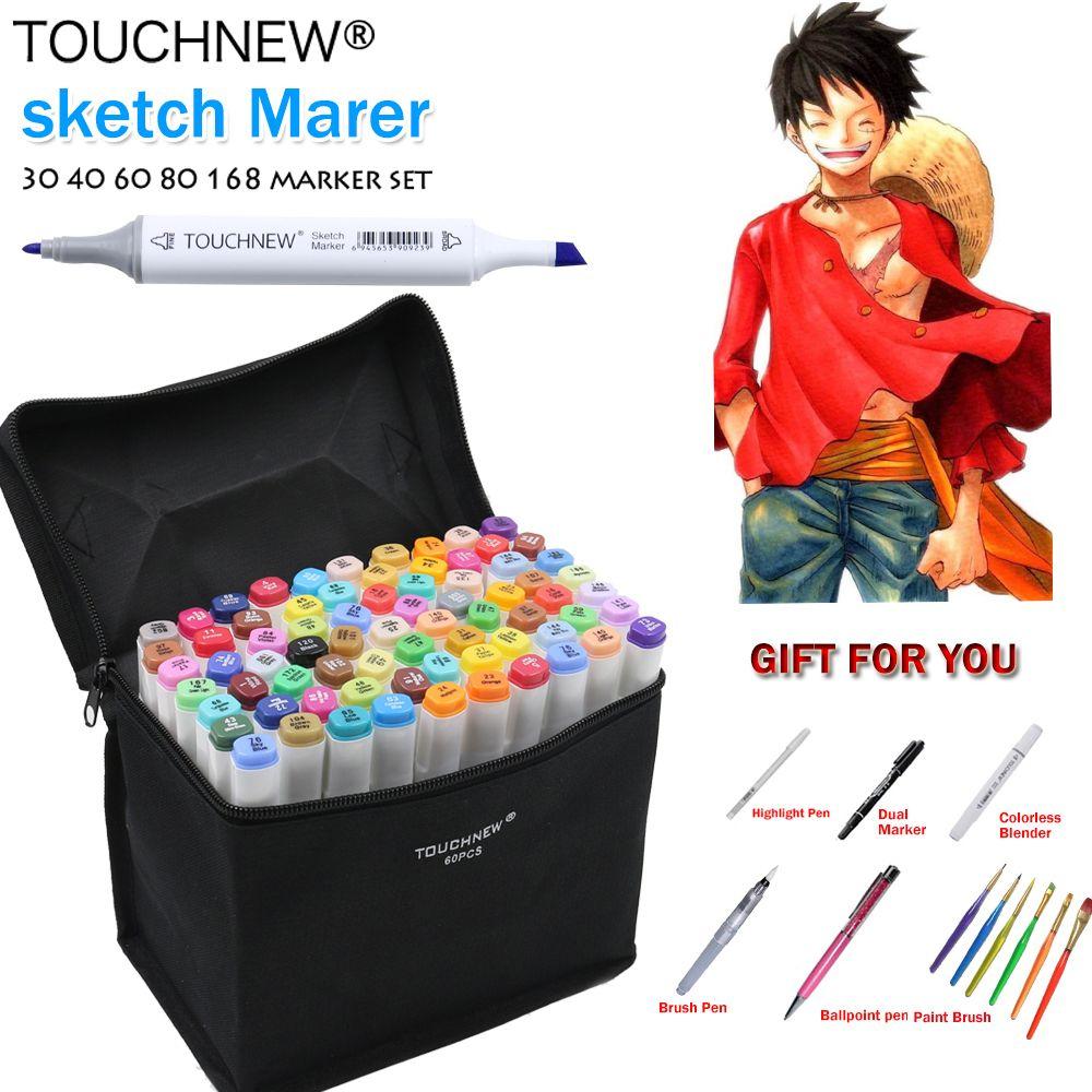TOUCHNEW 168 Colors Artist Painting Manga Art Marker Pen Head Alcohol Art Sketch Graffiti Fineliner Markers Set Markers Designer