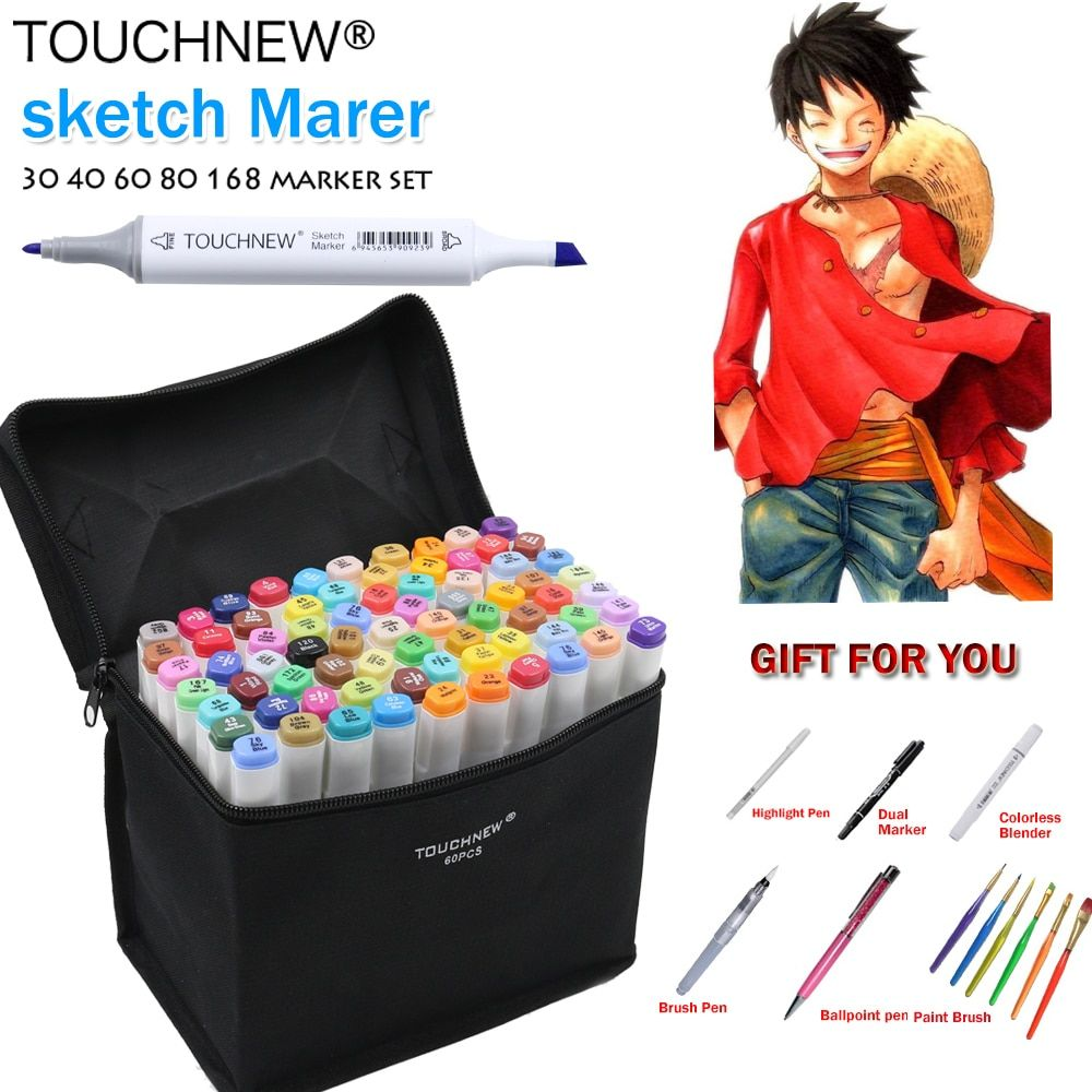 TOUCHNEW 168 Colors Artist Painting Manga Art Marker Pen <font><b>Head</b></font> Alcohol Art Sketch Graffiti Fineliner Markers Set Markers Designer