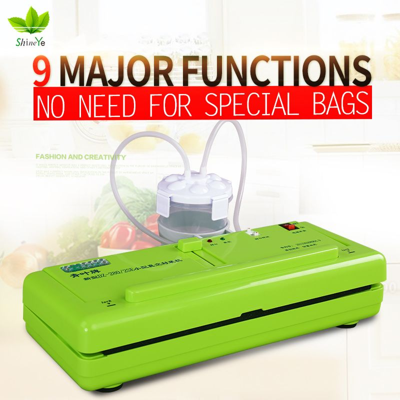 ShineYe Vacuum Sealer Packaging Household Food Machine Film Sealer Vacuum Packer Including 10Pcs Bags Free DZ-280/2SE
