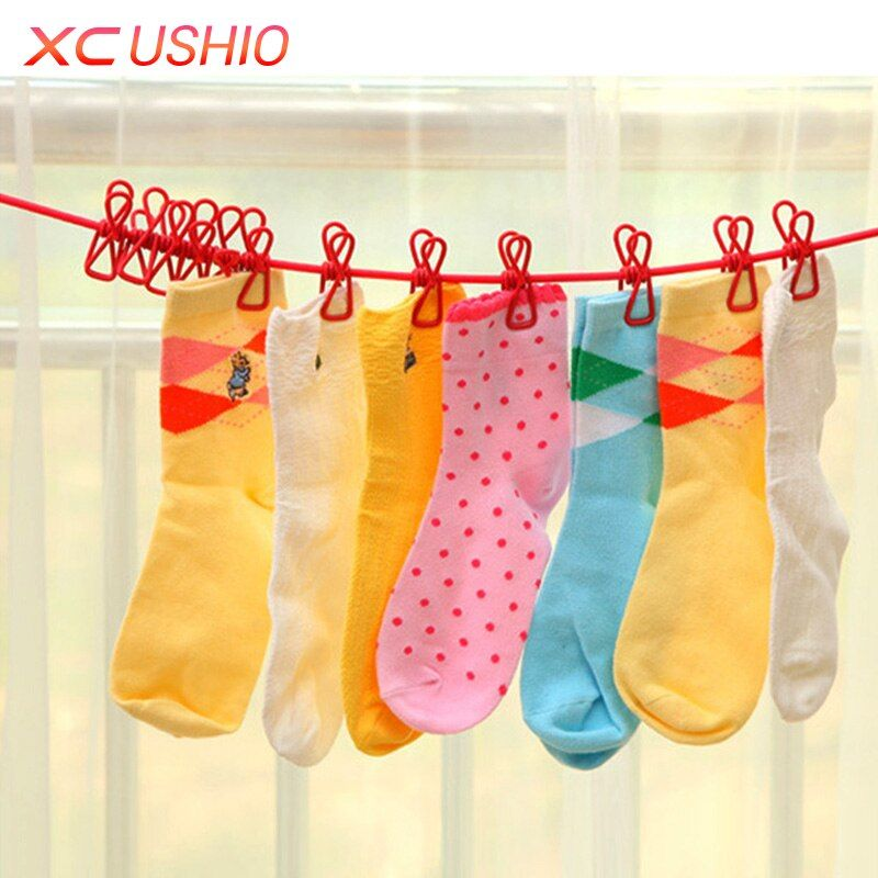 Outdoor Camping Elastic Washing Line With 12 Clips Travel Portable Retractable Clothesline Home Socks Underwear Clothes Hanger