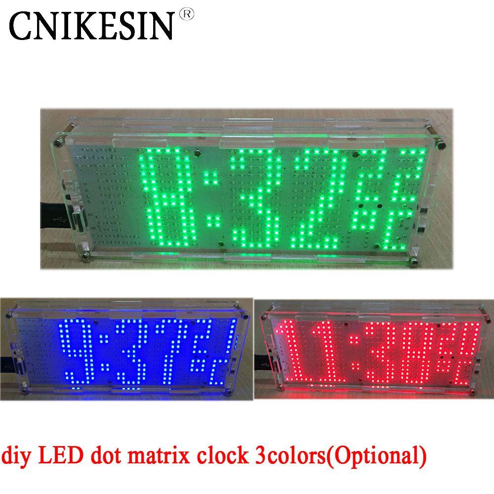CNIKESIN diy LED dot matrix clock chip welding practice 51 MCU with temperature controlled diy digital clock 3colors (Optional