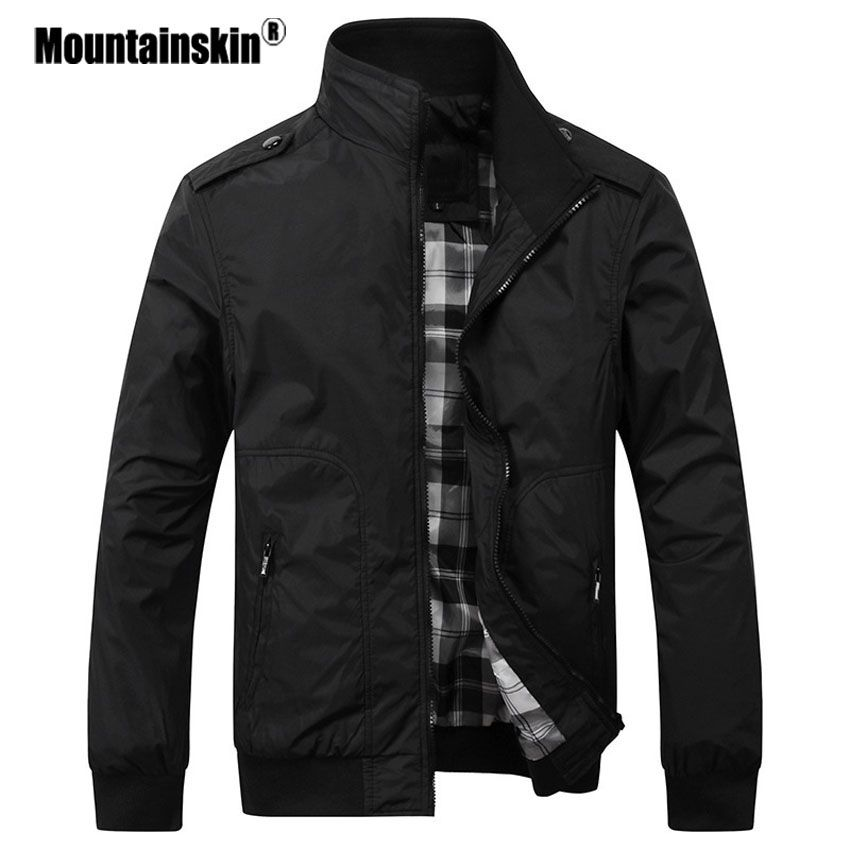 Mountainskin Men's Casual Jackets 4XL Fashion Male Solid Spring Autumn Coats Slim Fit Military Jacket Branded Men Outwears SA432