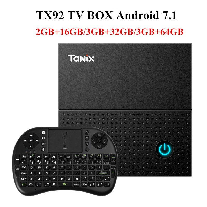 Tanix TX92 TV Box Amlogic S912 Octa-core CPU Android 7.1 OS BT 4.1 1000M LAN Max 3G RAM 64G ROM 2.4G/5G Wifi Smart TV Box