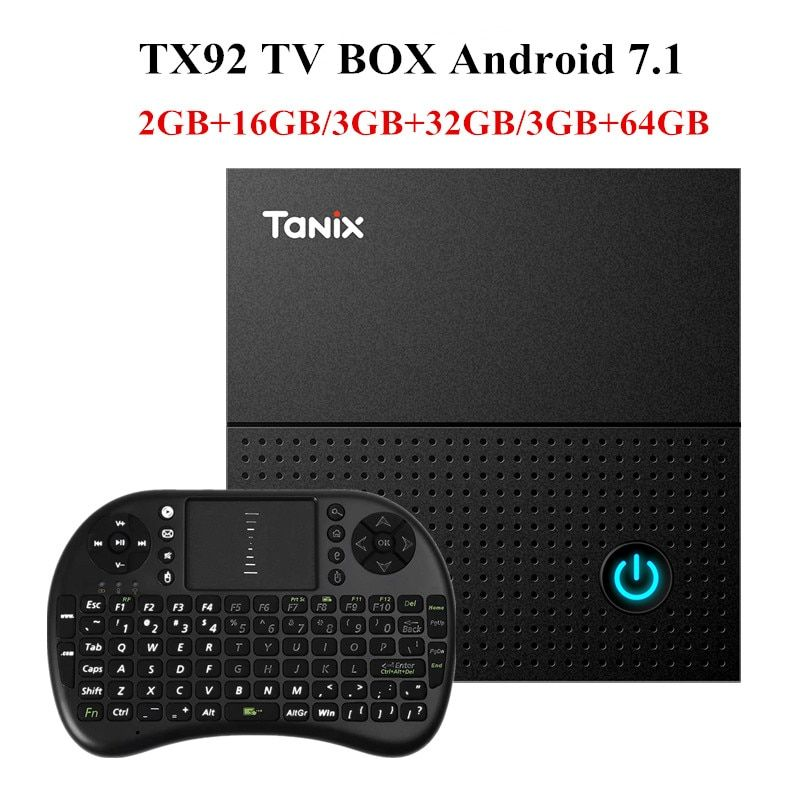 Tanix TX92 TV Box Amlogic S912 Octa-core CPU Android 7.1 OS BT 4.1 1000M LAN Max 3G RAM 64G ROM 2.4G/5G Wifi Smart TV Box