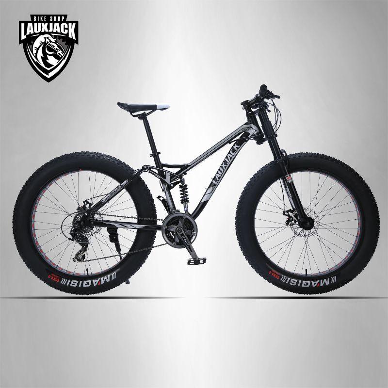 LAUXJACK mountainbike aluminium rahmen 24 geschwindigkeit Shimano mechanische bremsen 26 x4.0 räder lange gabel FatBike