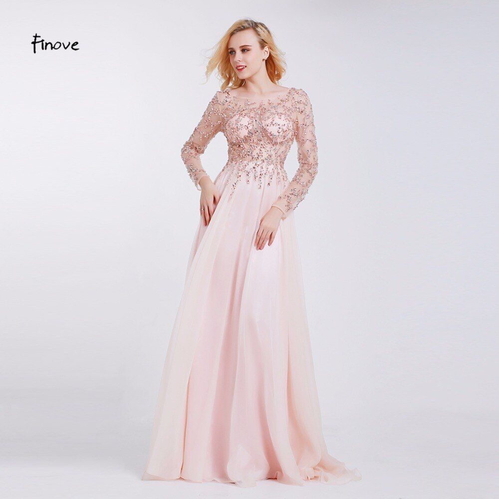 Formal Evening Dresses 2018 Boat Neck Long Sleeve Crystal Beading By Hand See-through Prom Dresses Robe de Soiree
