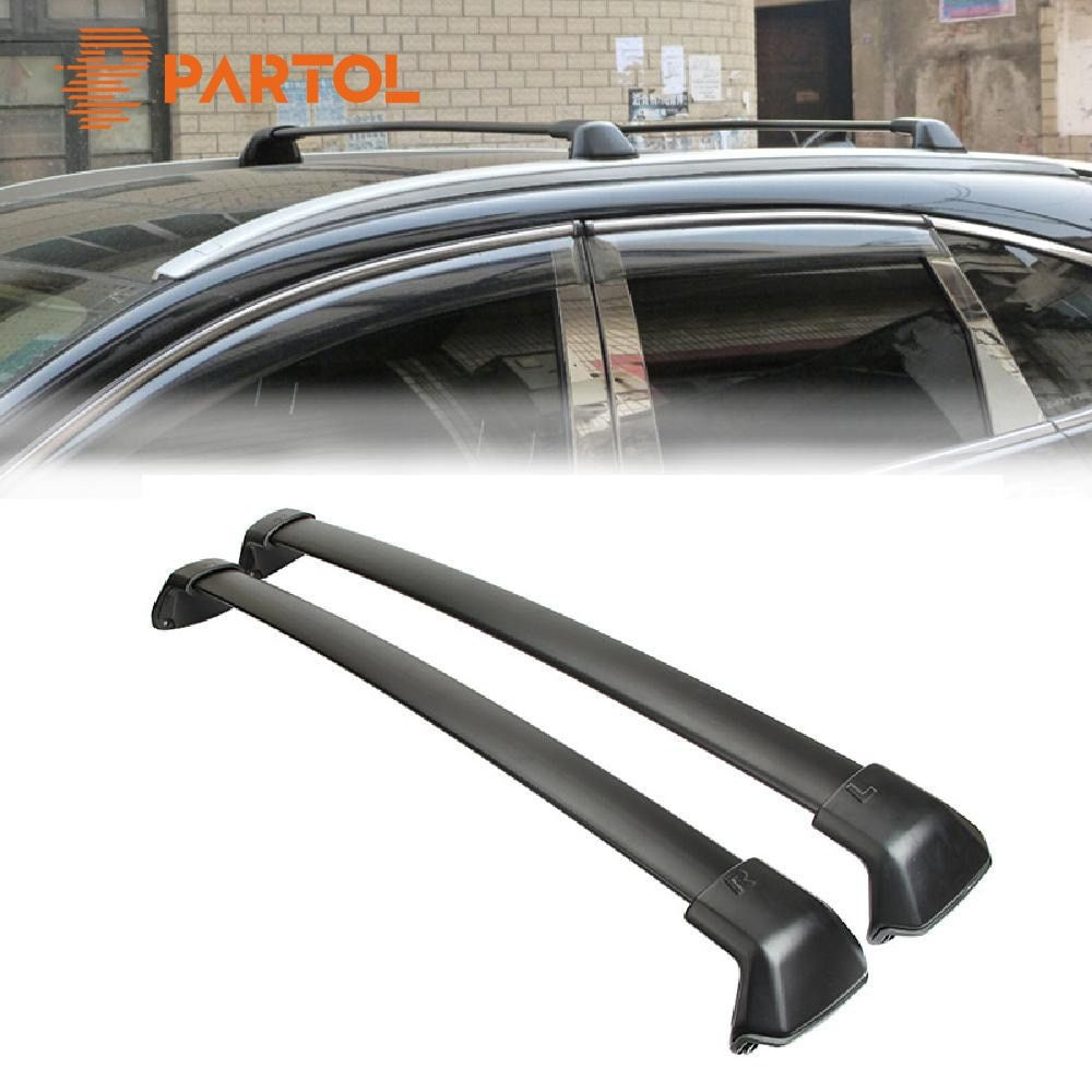 Partol 1 Pair Black Aluminum Side Rails Car Roof Rack Cross Bars  for Honda CRV 2012-2016 132 LBS 60KG Mounted On Car Rooftop
