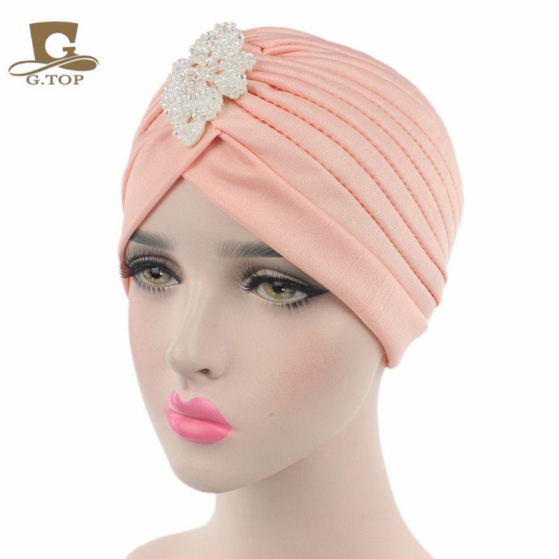 Plisado de las mujeres Turbante Head Wrap Bonnet con el diamante moldeado