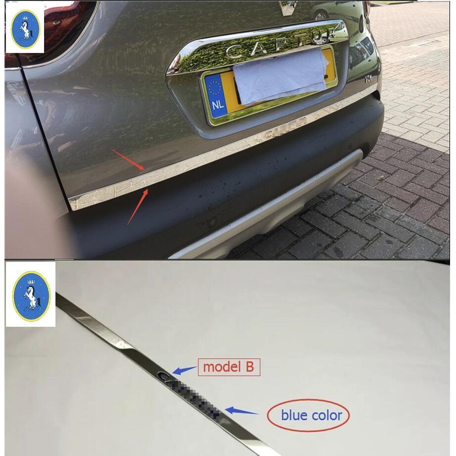 Yimaautotrims Chrome arrière coffre Accent couverture queue porte hayon garniture arrière botte porte bande autocollant pour Renault Captur 2014-2016