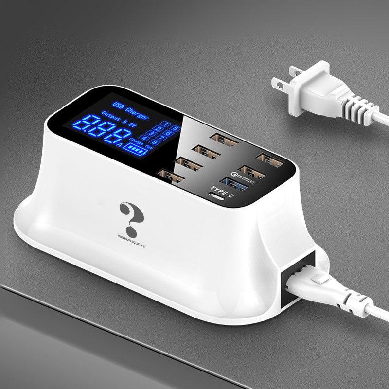 Charge rapide 3.0 Station de chargeur de USB type C intelligente affichage Led chargeur rapide de téléphone tablette USB chargeur pour iPhone Samsung adaptateur