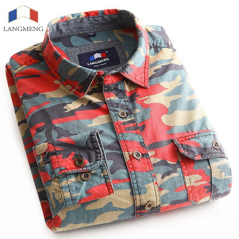 Langmeng 100% baumwolle Herren Langarm Camouflage Shirt Männer Armee Kampf Freizeithemd Military Slim Fit Camo Männlichen Shirts 2016