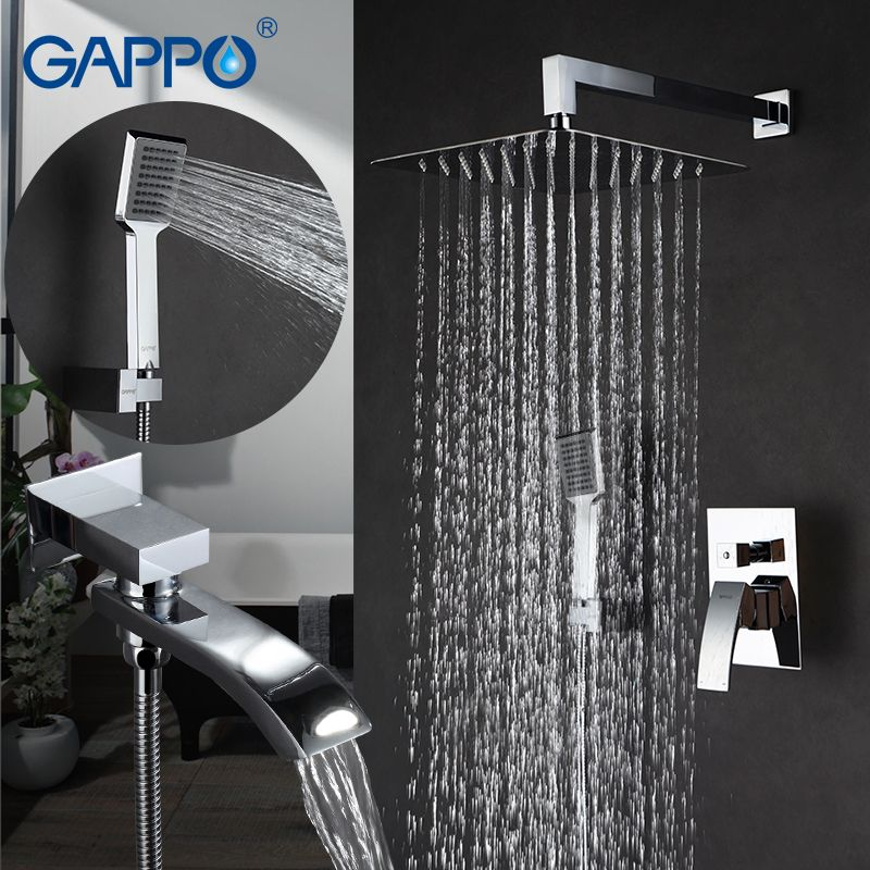 GAPPO Bathroom Wall Mounted Rain Shower faucet in-wall Rainfall Shower faucet bathtub faucets luxury bathroom shower Mixer