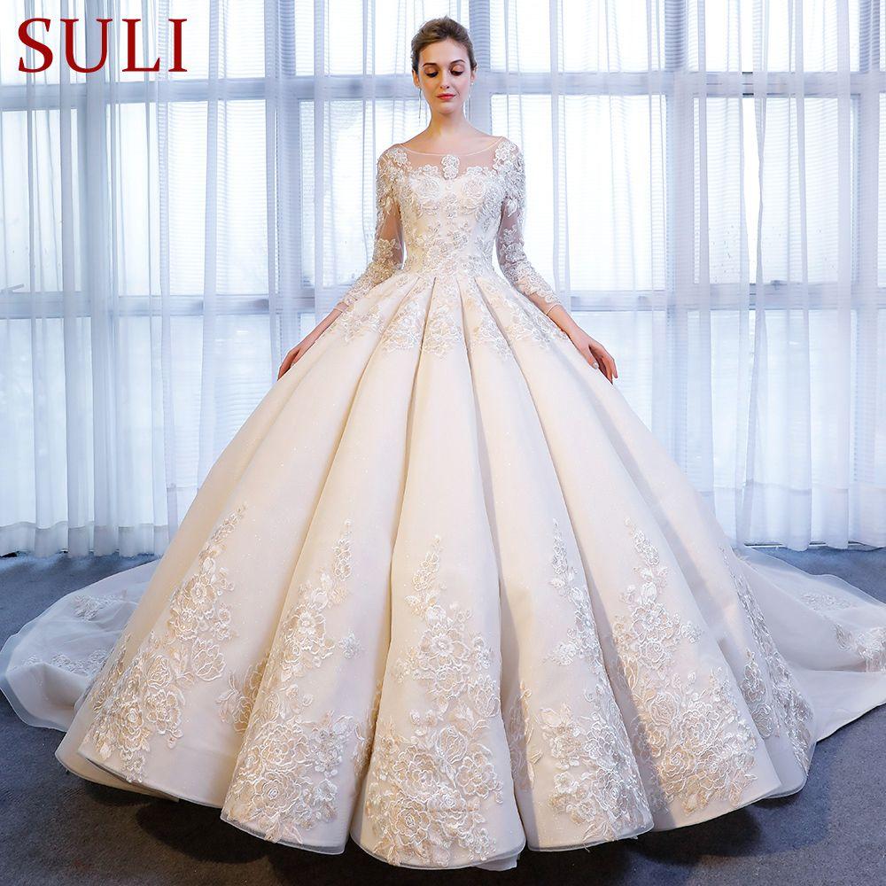 SL-337 Luxus Spitze Applique Backless Kristall Langarm Hochzeit Kleid 2018