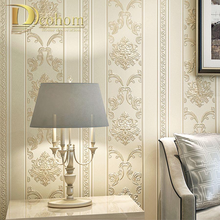 Modern Luxury Homes Decor European Striped Damask Wallpaper For Walls Bedroom Living room Embossed Grey Beige Wall paper Rolls