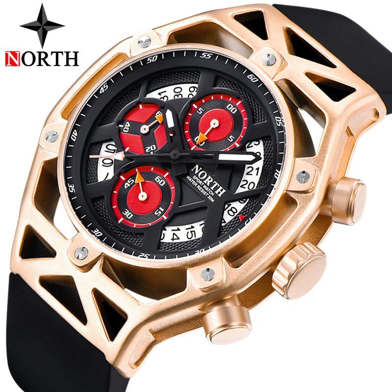 NORTH Mens Watches Top Brand Luxury Chronograph Quartz Watch Men Analog Date Casual Military Sport Wrist Watch Relogio Masculino